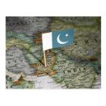 Bandera de Paquistán en mapa Tarjetas Postales