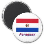 Bandera de Paraguay con nombre Imán Redondo 5 Cm