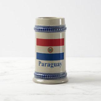 Bandera de Paraguay con nombre Taza