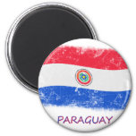 Bandera de Paraguay del Grunge Imán Redondo 5 Cm