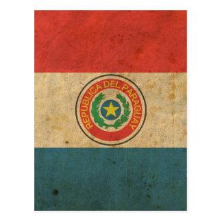 Bandera de Paraguay del vintage Postal