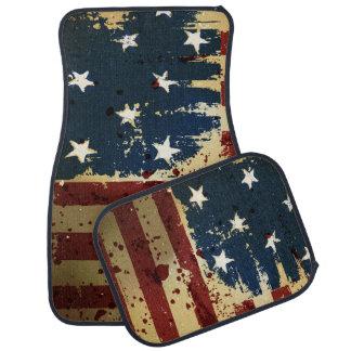 Bandera de Pariotic del americano del Grunge Alfombrilla De Auto