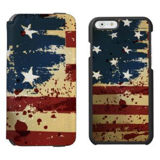 Bandera de Pariotic del americano del Grunge Funda Cartera Para iPhone 6 Watson