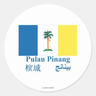 Bandera de Penang con nombre Etiquetas Redondas