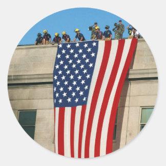Bandera de Pentágono 9/11 Pegatina Redonda