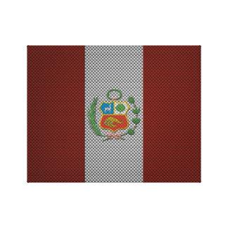 Bandera de Perú con efecto de la fibra de carbono Impresiones De Lienzo
