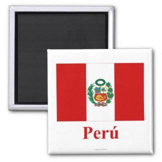 Bandera de Perú con nombre en español Imán Para Frigorífico