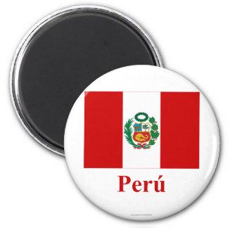Bandera de Perú con nombre en español Imanes De Nevera