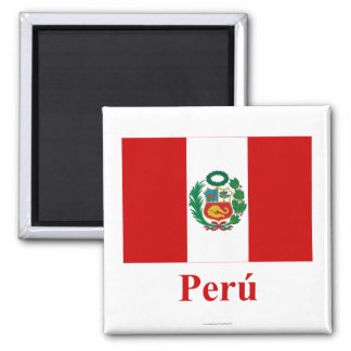 Bandera de Perú con nombre en español Imán Cuadrado