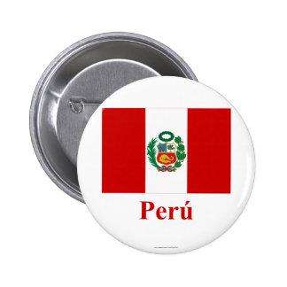 Bandera de Perú con nombre en español Pins