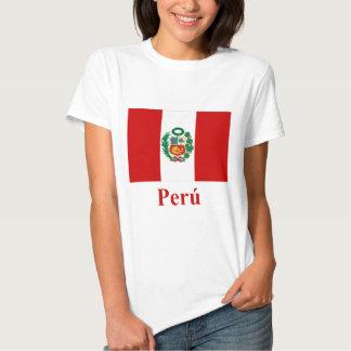 Bandera de Perú con nombre en español Poleras