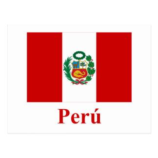 Bandera de Perú con nombre en español Postal