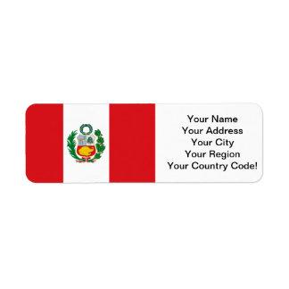 Bandera de Perú Etiqueta De Remite
