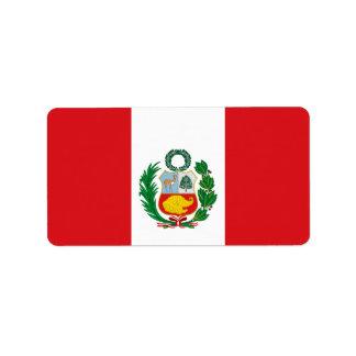 Bandera de Perú Etiqueta De Dirección