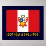 Bandera de Perú y COA Póster