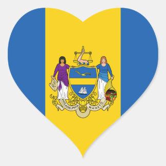 Bandera de Philadelphia Pegatina En Forma De Corazón