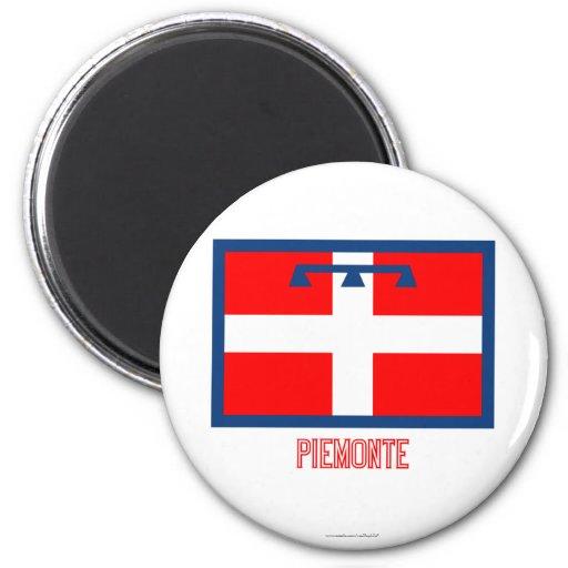 Bandera de Piemonte con nombre Imán Redondo 5 Cm