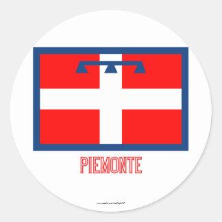 Bandera de Piemonte con nombre Pegatina Redonda