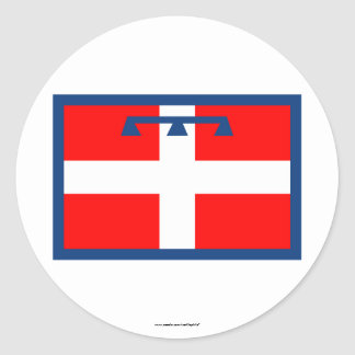 Bandera de Piemonte Pegatina Redonda