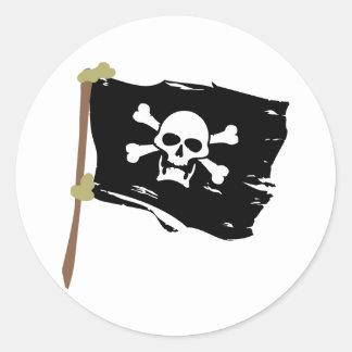 Bandera de pirata alegre de Rogelio Pegatina Redonda