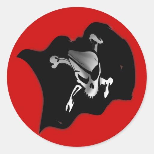 Bandera de pirata alegre de Rogelio que agita Pegatinas Redondas