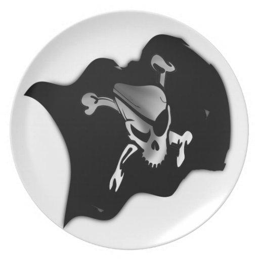 Bandera de pirata alegre de Rogelio que agita Plato De Cena