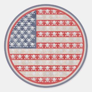 Bandera de pirata americana pegatina redonda