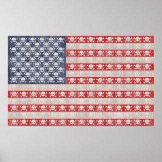 Bandera de pirata americana póster