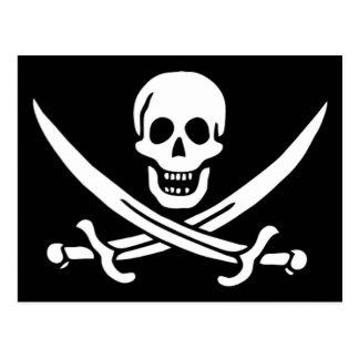 Bandera de pirata auténtica de Jack Rackam Tarjetas Postales