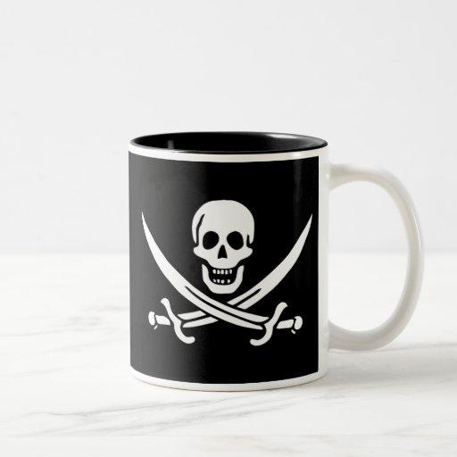 Bandera de pirata auténtica de Jack Rackam Taza De Dos Tonos