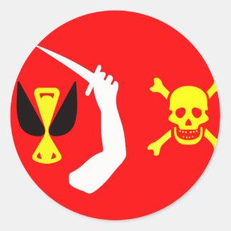Bandera de pirata cambiante de Christopher Pegatinas Redondas
