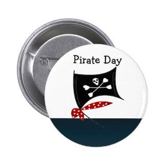 Bandera de pirata con bandera pirata pin redondo de 2 pulgadas