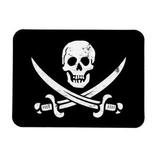 Bandera de pirata de Juan Rackham (calicó Jack) Ro Imanes Rectangulares