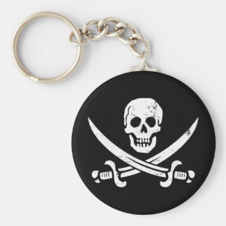 Bandera de pirata de Juan Rackham (calicó Jack) Ro Llavero Redondo Tipo Pin