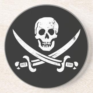 Bandera de pirata de Juan Rackham (calicó Jack) Ro Posavasos Para Bebidas