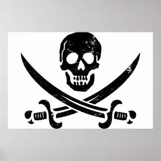 Bandera de pirata de Juan Rackham (calicó Jack) Ro Póster