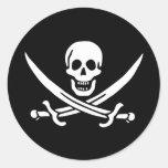 Bandera de pirata del calicó Jack Pegatinas Redondas