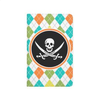 Bandera de pirata en el modelo colorido de Argyle Cuaderno Grapado