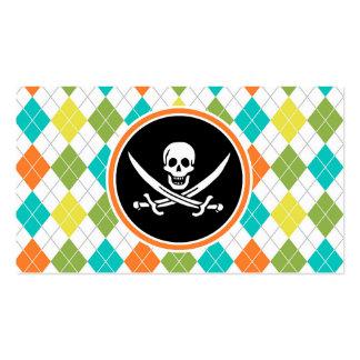 Bandera de pirata en el modelo colorido de Argyle Tarjetas De Visita