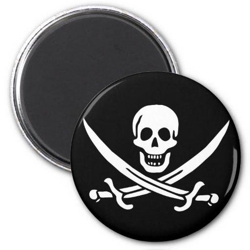 Bandera de pirata imán redondo 5 cm