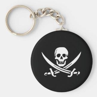 Bandera de pirata llavero redondo tipo pin