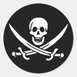Bandera de pirata pegatina redonda