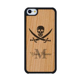 Bandera de pirata personalizada del monograma funda de iPhone 5C slim cerezo