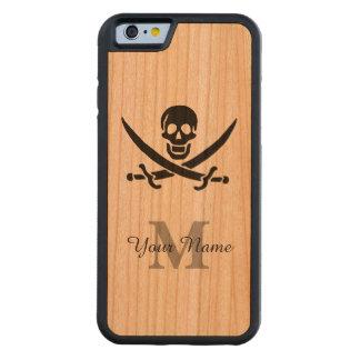 Bandera de pirata personalizada del monograma funda de iPhone 6 bumper cerezo