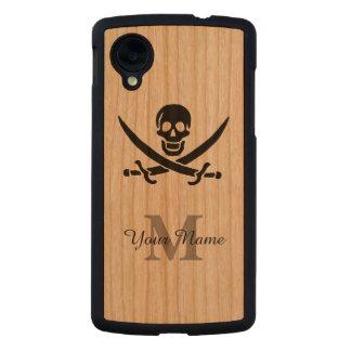 Bandera de pirata personalizada del monograma funda de nexus 5 carved® de cerezo