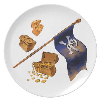 Bandera de pirata plato para fiesta