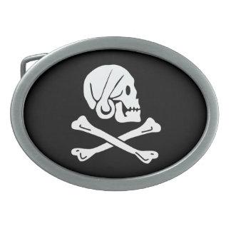 Bandera de pirata - Rogelio alegre Hebillas De Cinturón Ovales
