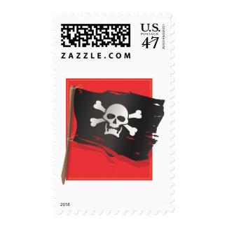 Bandera de pirata sellos postales