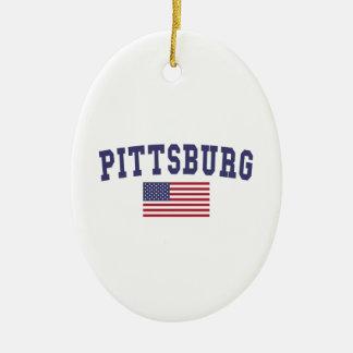 Bandera de Pittsburg los E.E.U.U. Adorno Navideño Ovalado De Cerámica