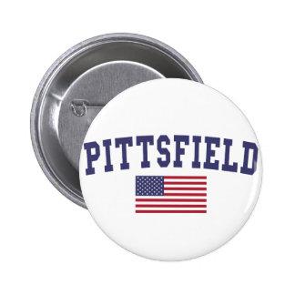 Bandera de Pittsfield los E.E.U.U. Pin Redondo De 2 Pulgadas